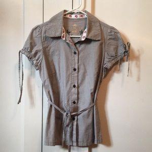 Pinstripe Short-Sleeve Blouse